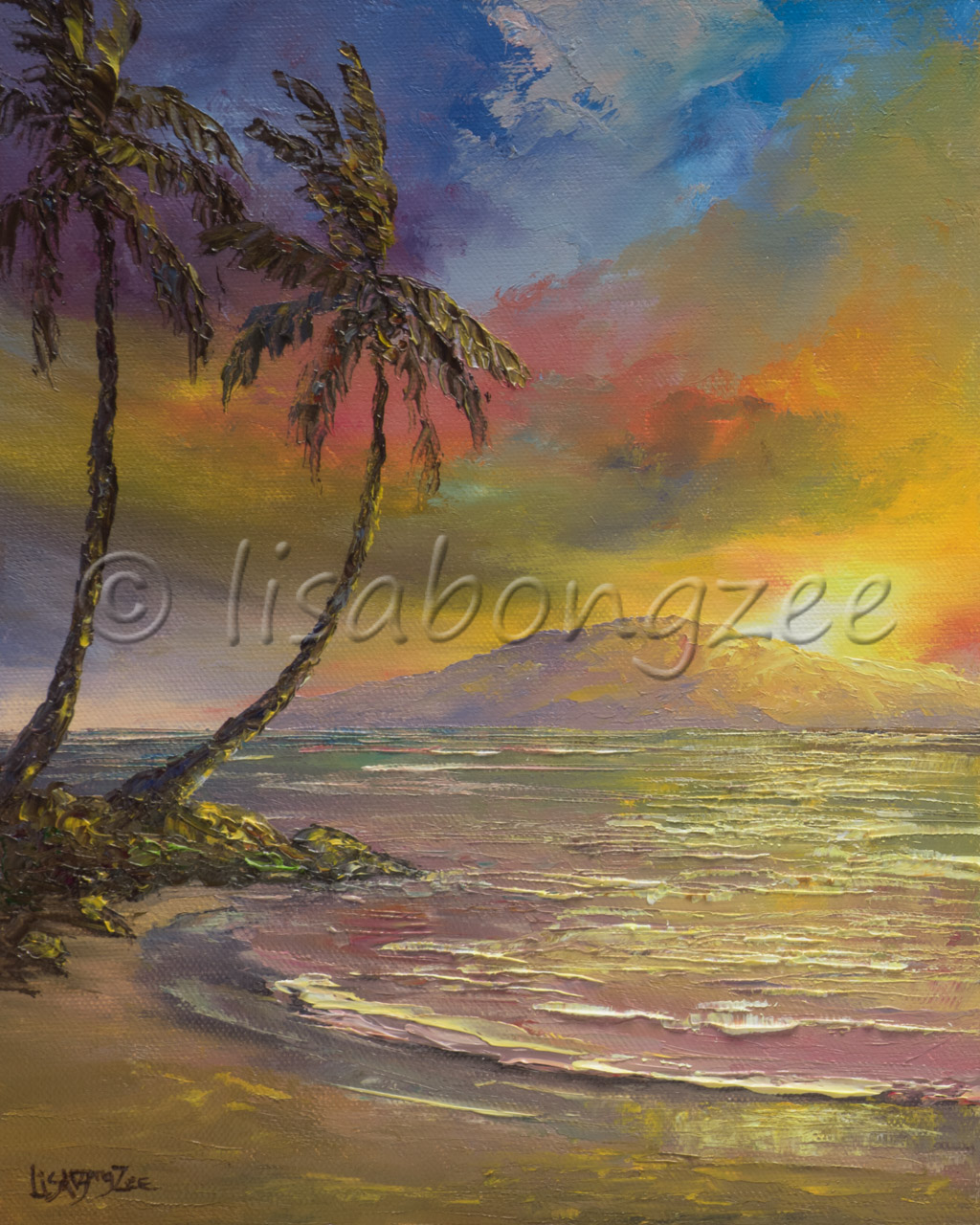 Original oil painting of a sunset with Lanai island in the background and two palm trees next to the ocean