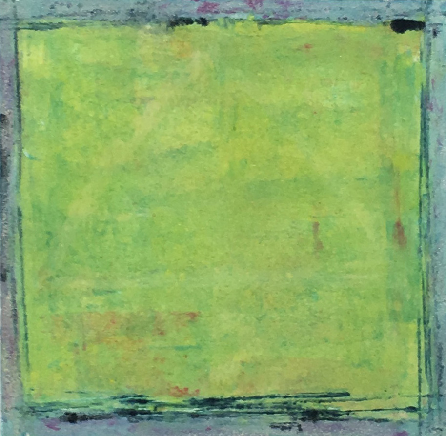 Square Monotype Lime Green with Blue Border