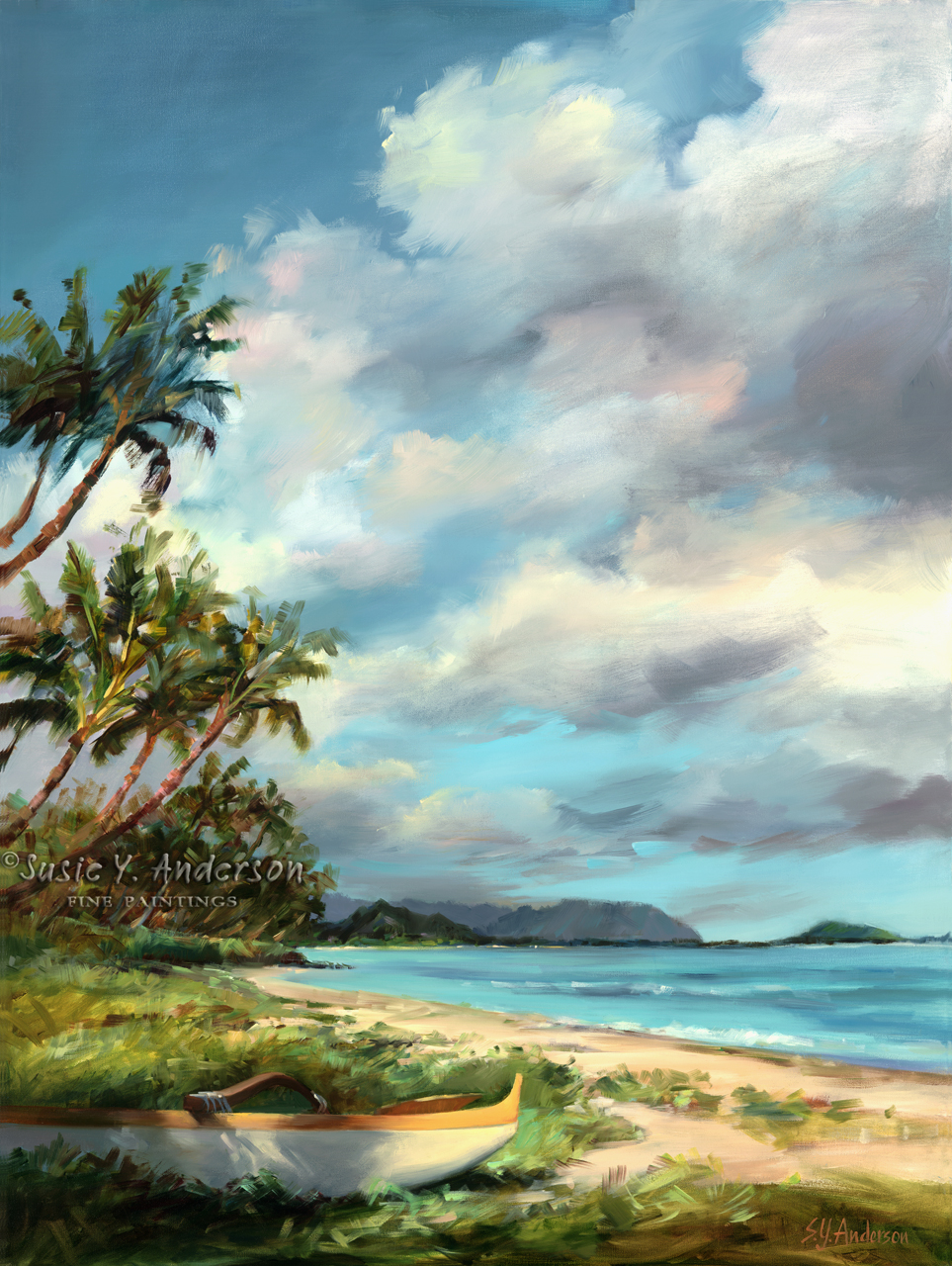 Lanikai Lady by Susie Anderson palms and beach in Hawaii