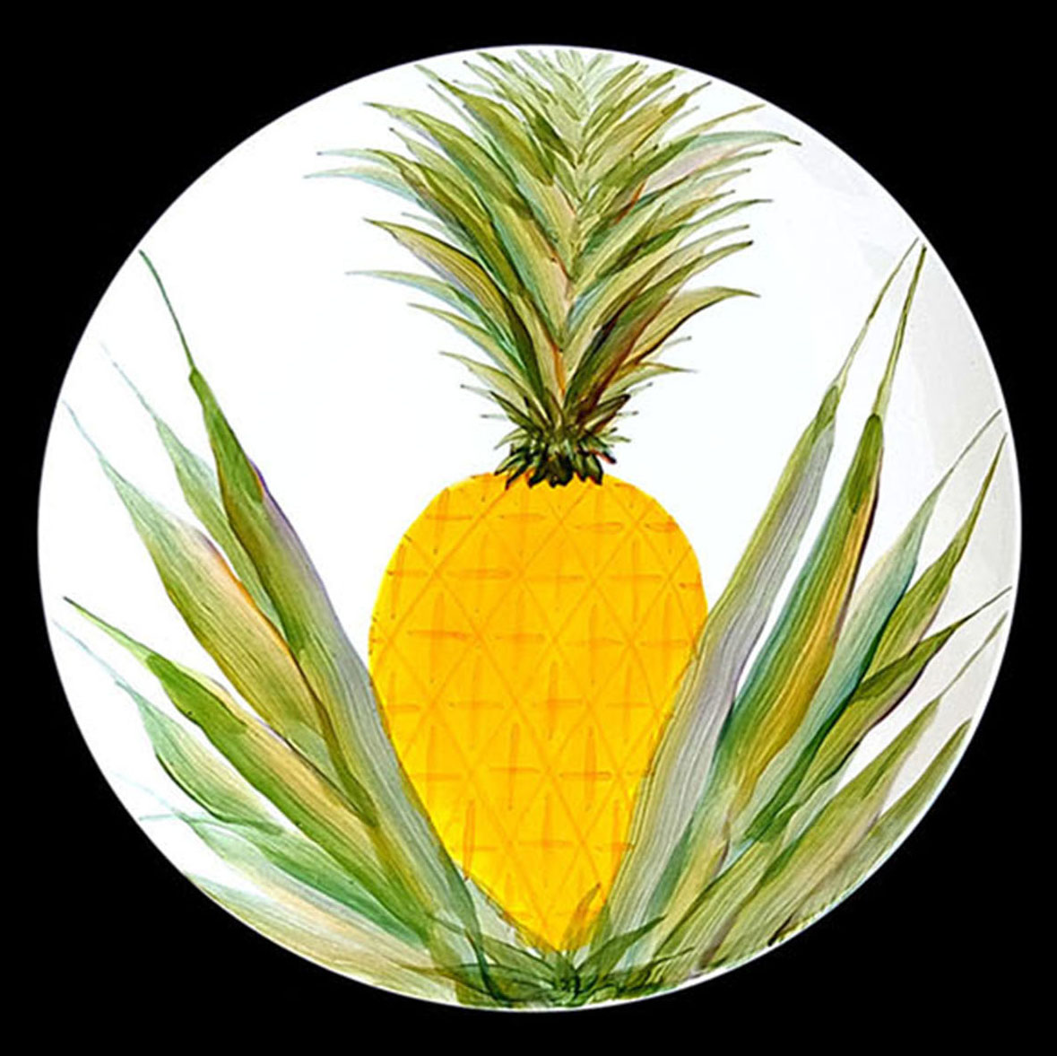 Large Oval Platter by Michael Lee ceramic pinapple design