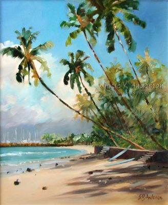 Lessons Anyone by Susie Anderson palms and beach in Hawaii