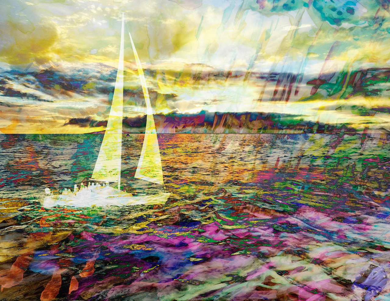 Difting in a Sea of Dreams by Marisela Bracho depicting a sailboat on water