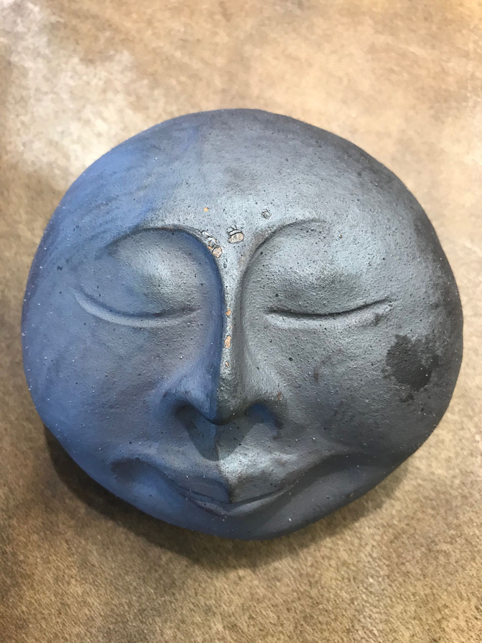 Hand Built Ceramic Monk Face by Marylyn Holland
