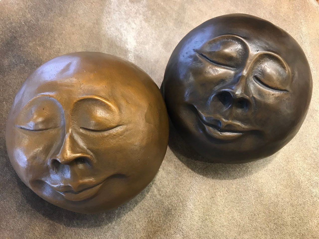 Cast Bronze Monk Face Pair by Marylyn Holland