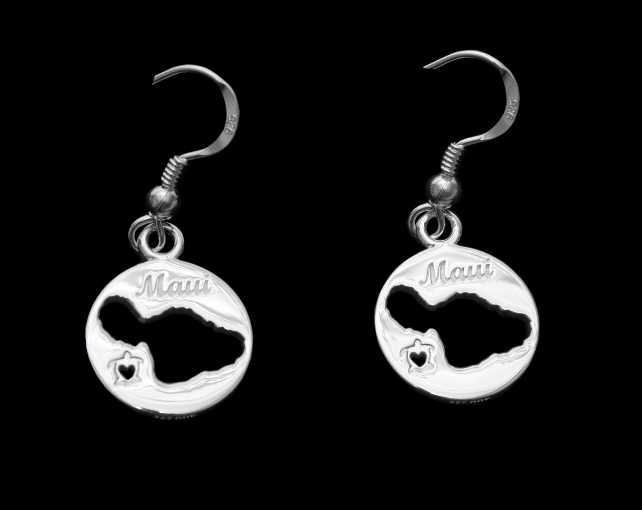 sterling silver circle earrings with Maui shaped cutouts and small hearts