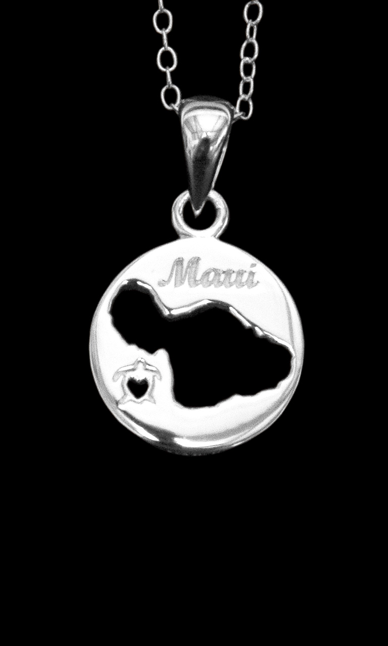 sterling silver necklace of a circle with Maui island cutout and a turtle with a heart shaped center