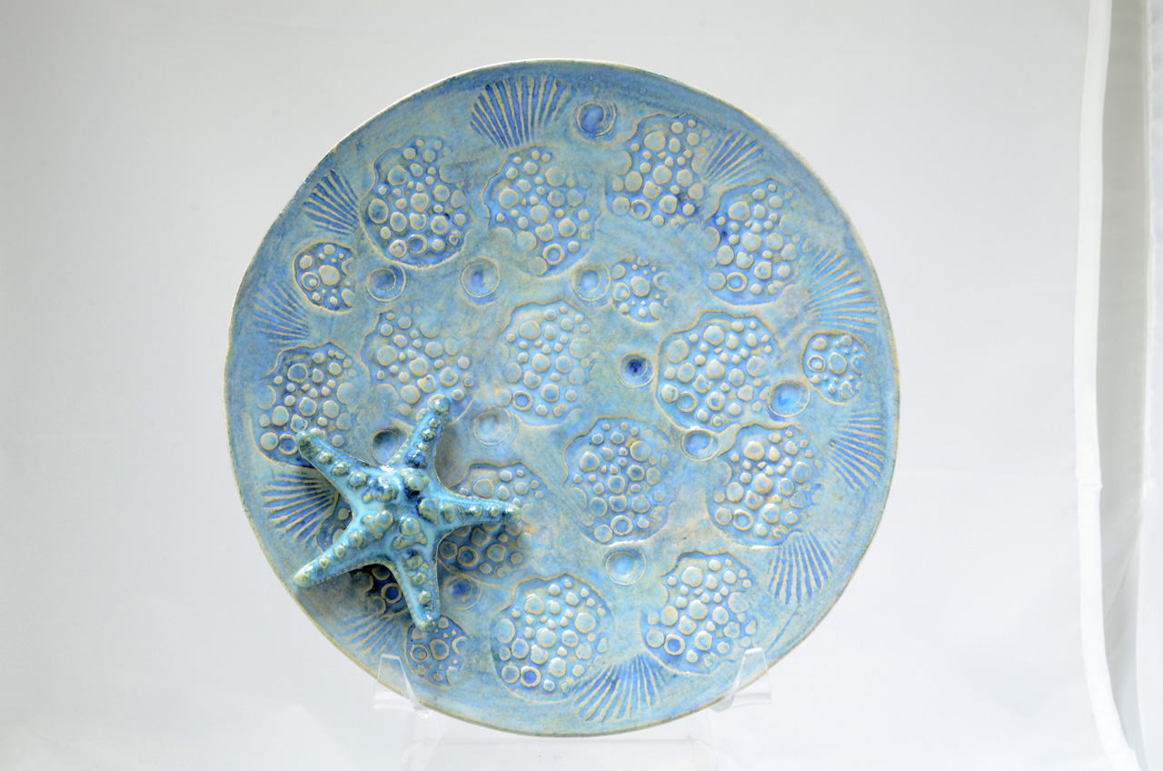 Blue Bowl with Shell by Michelle Espero decorative ceramic bowl