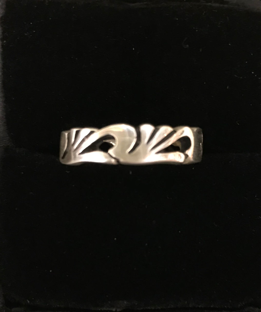sterling silver ring, thin band, abstract wave design