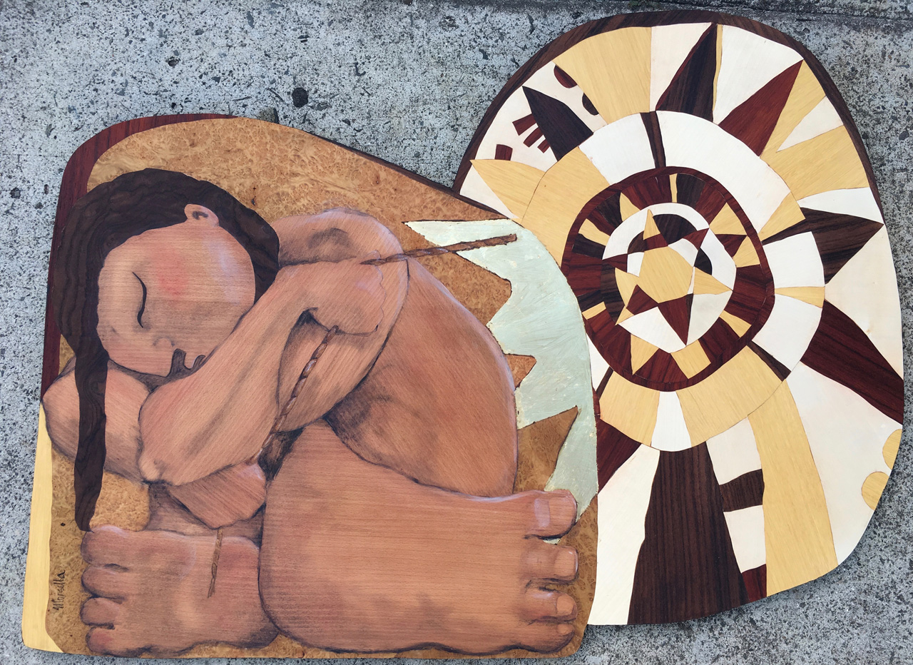 Maui Slows the Sun by Juli Morsella marquetry depicting the god Maui blocking the sun