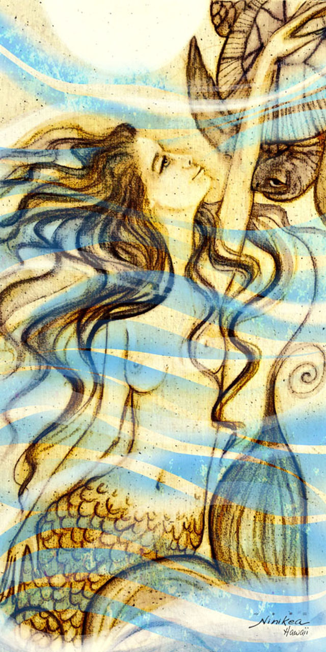 Ocean Goddess by Clarissa Dunlap a drawing of a topless mermaid petting a turtle