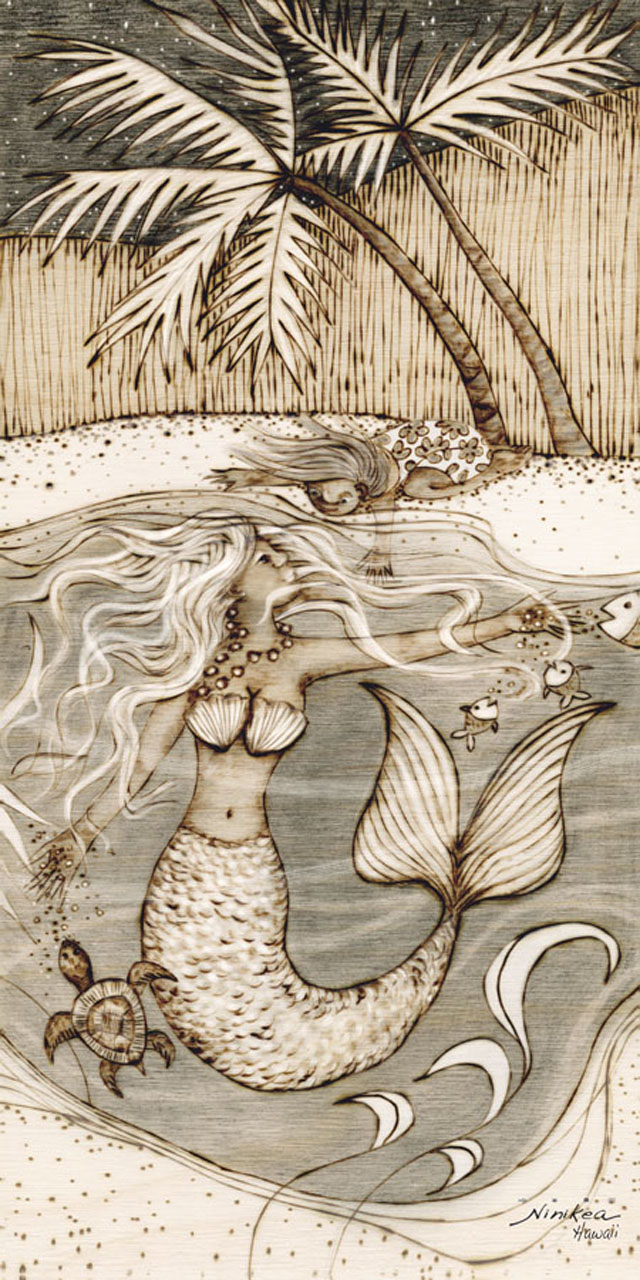 Mermaid by Clarissa Dunlap a drawing of a mermaid swimming underwater feeding fish and a turtle