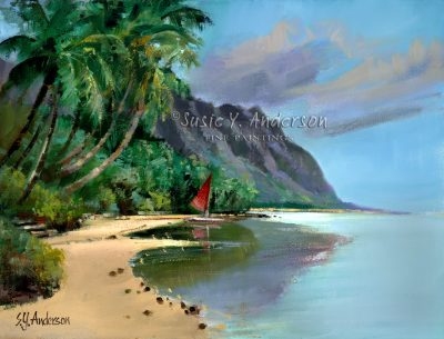 Morning Song by Susie Anderson palms and beach with mountains in the background