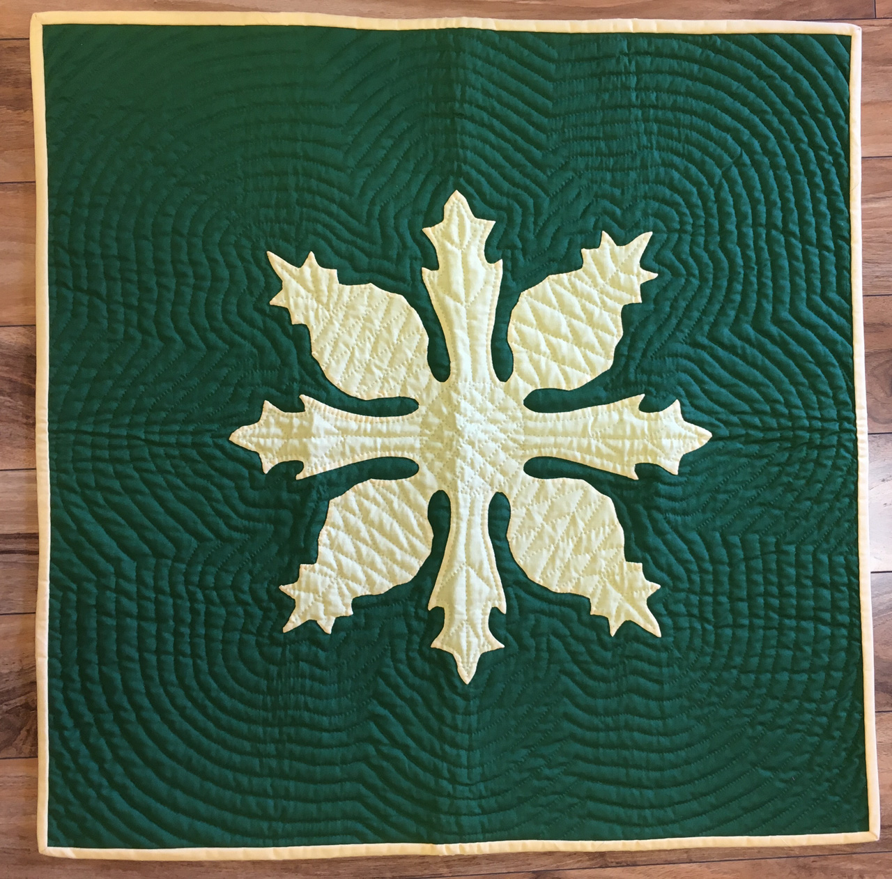 Pineapple Quilted Panel in Green and Pale Yellow by Noreen Tretick