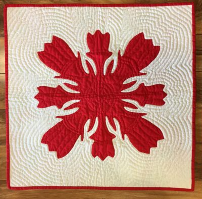 Lokelani Quilted Panel in White and Redby Noreen Tretick