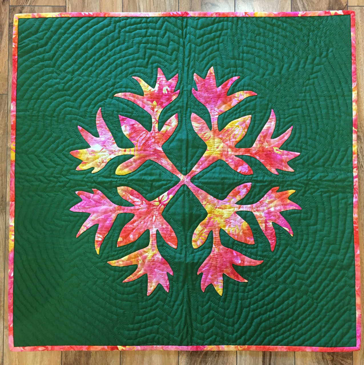Bird of Paradise Quilted Panel in Green and Multicolored by Noreen Tretick
