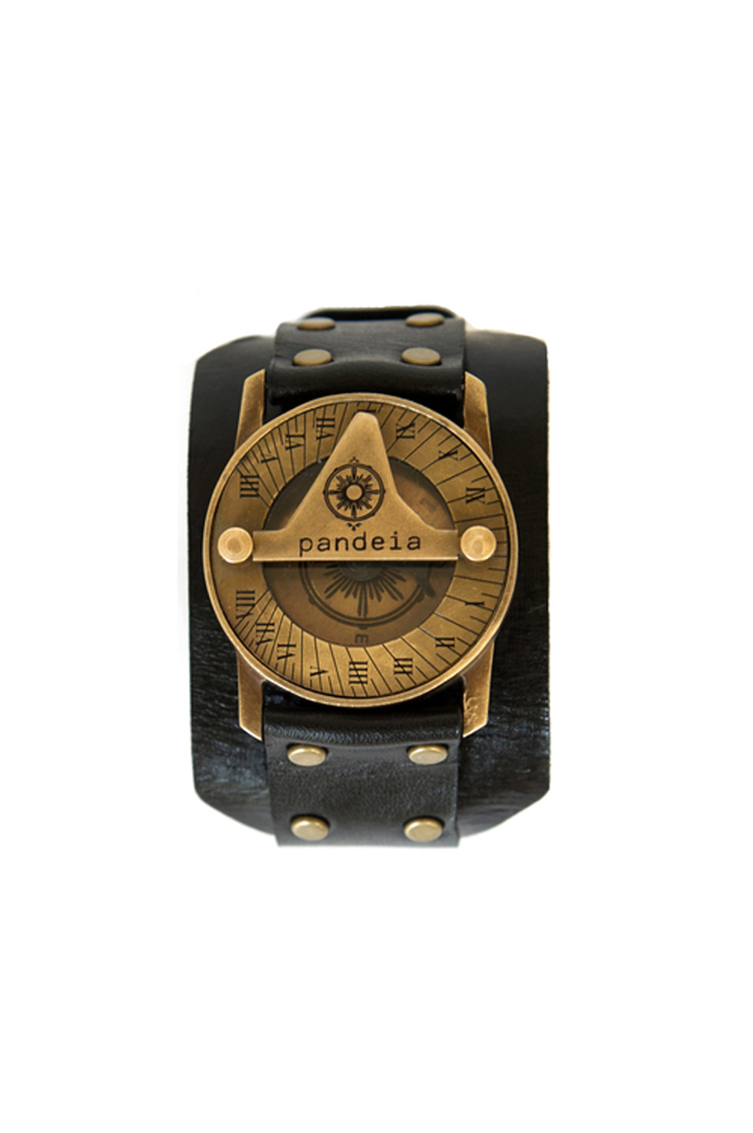 Obsidian compass sundial watch