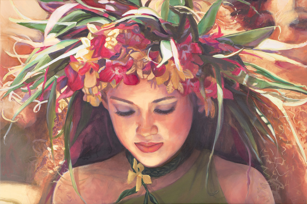 The face of a young hula dancer looking down, wearing a yellow and pink orchid haku