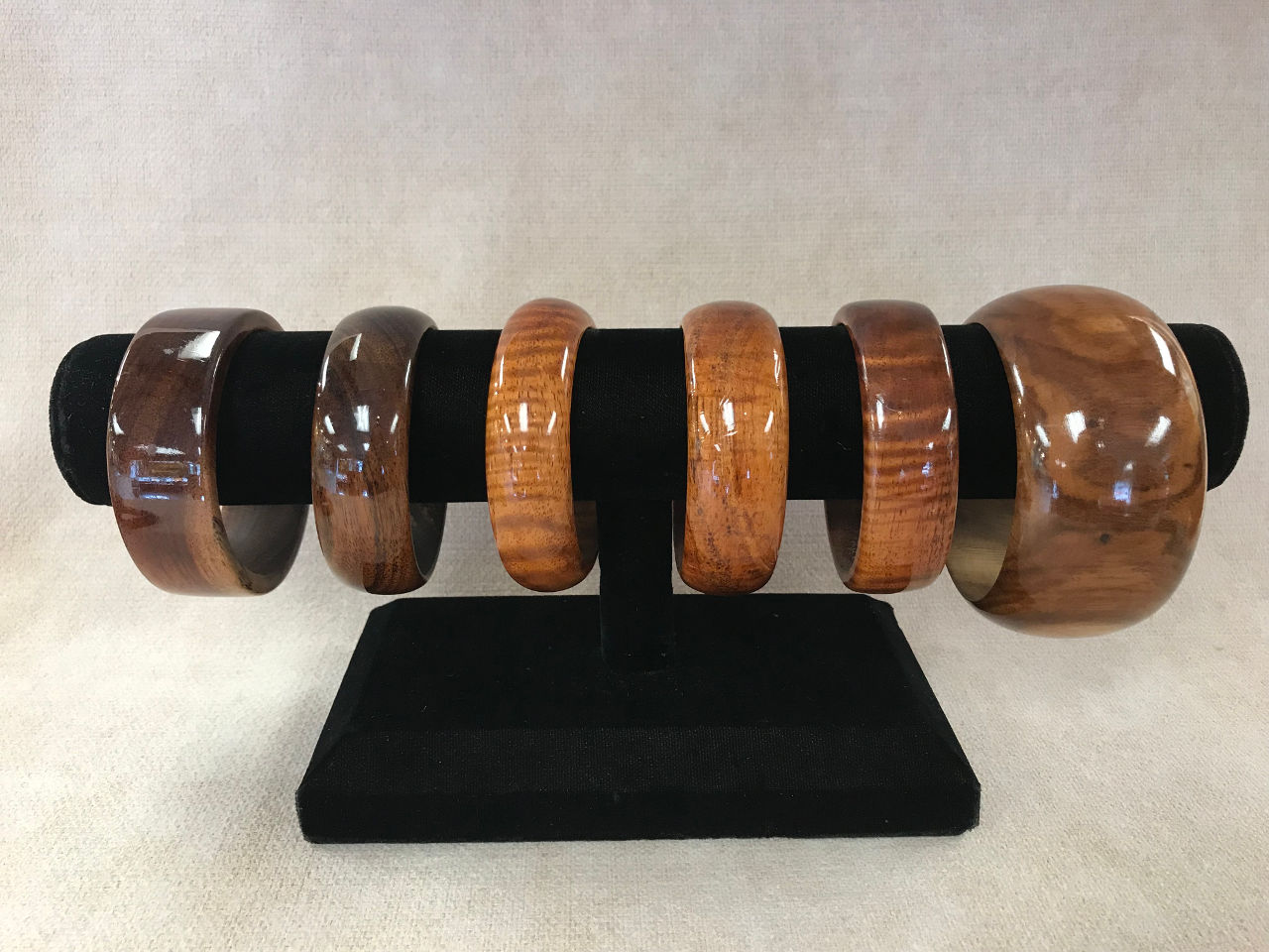 Hawaiian Koa Wood Bracelets by Roger Sanchez six examples