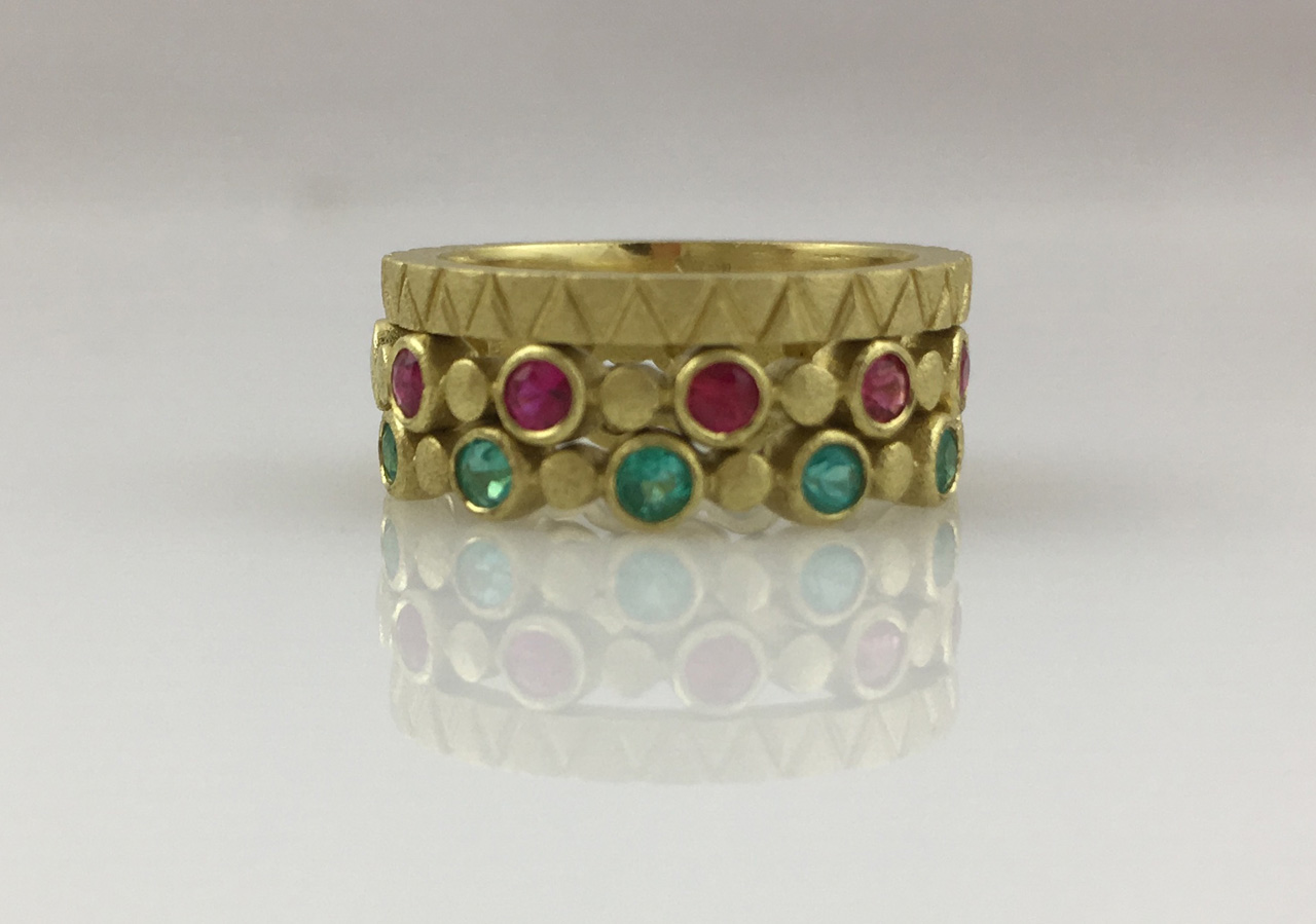 18K Stacked Trio Ring Gold, Ruby, and Paraiba