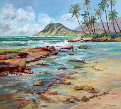 Paradise Cove by Susie Anderson beach with waves crashing over reef in Hawaii