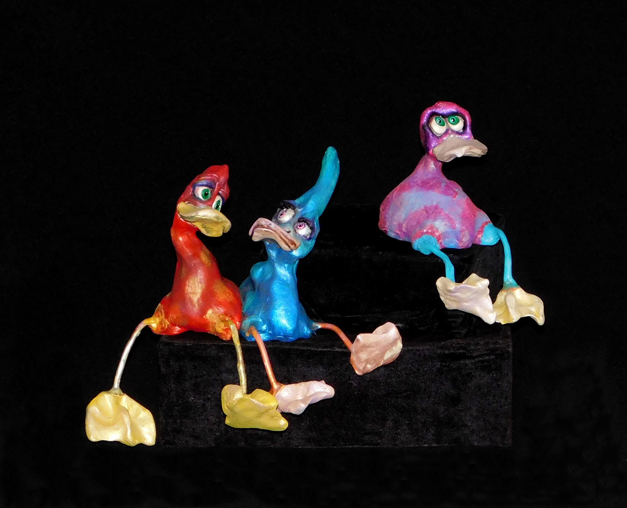 Quackers by Steven Lee Smeltzer cartoonish whimsical clay sculpture of ducks