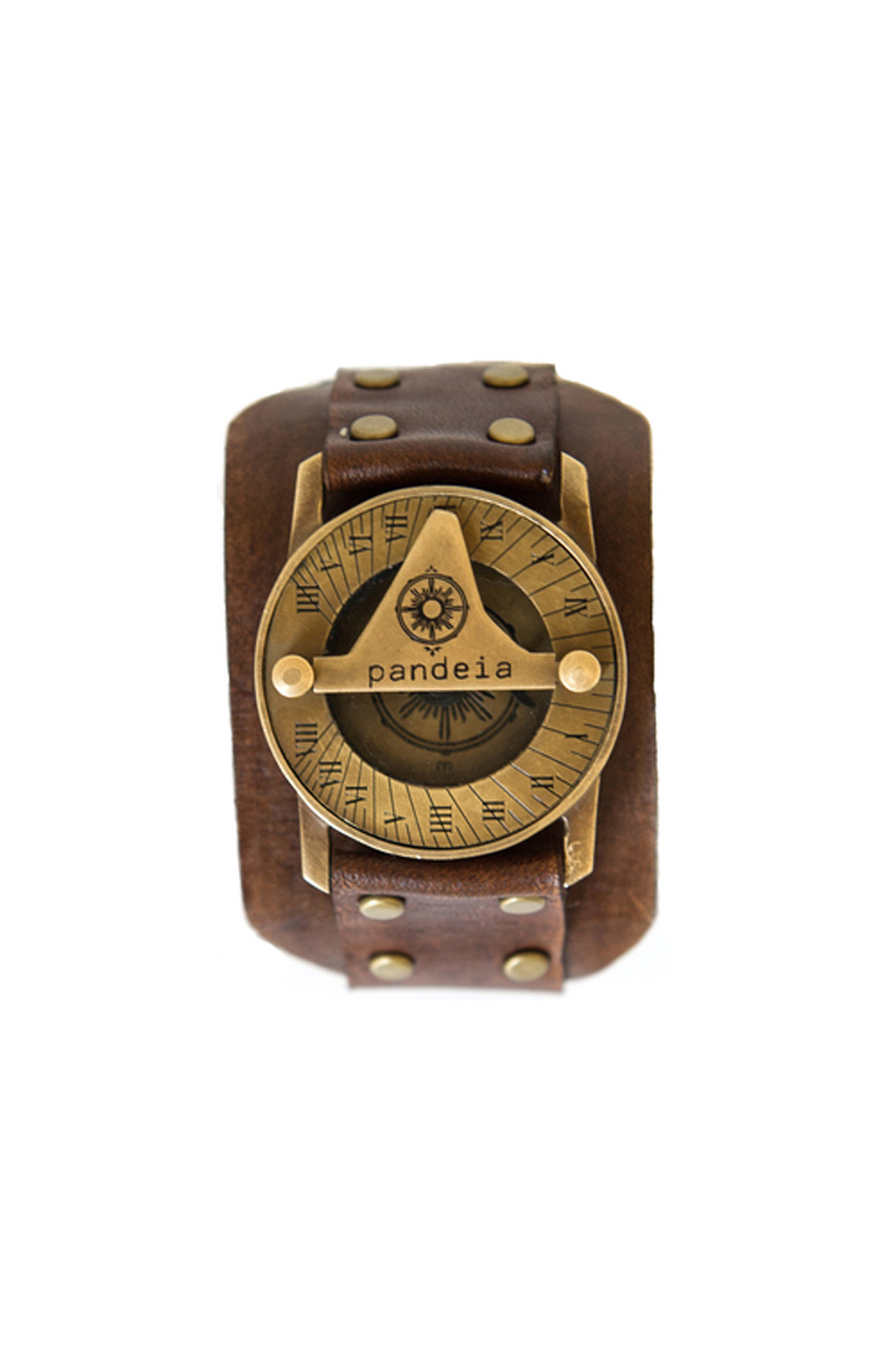 Sandalwood compass sundial watch