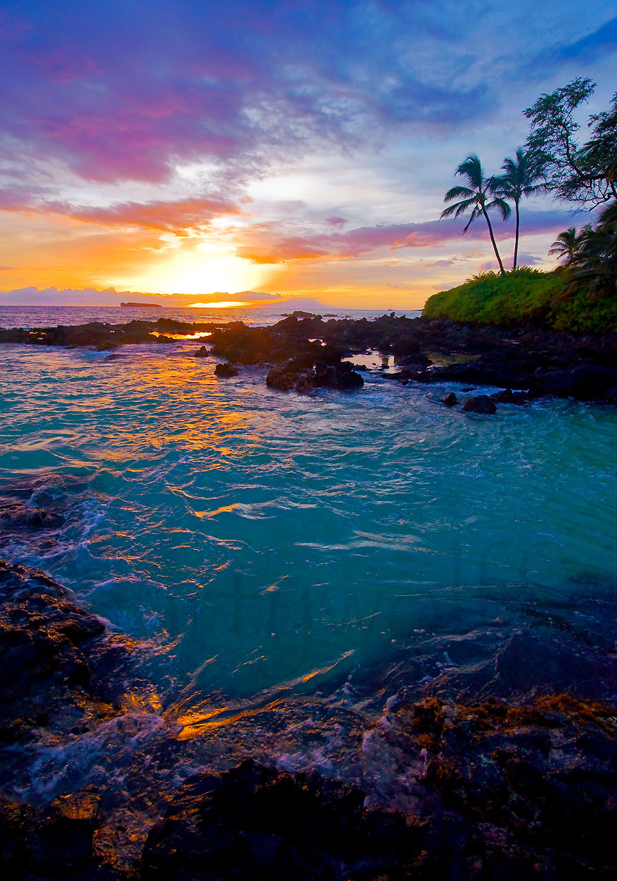 Secret Beach by Marty Wolff sunset over an ocean
