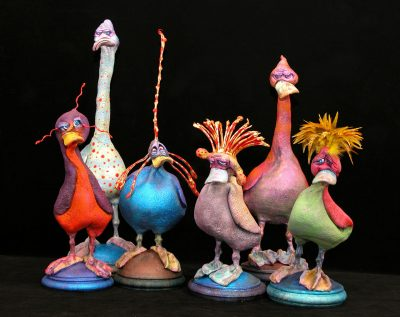 Quack Ups by Steven Lee Smeltzer cartoonish whimsical clay sculptures of ducks