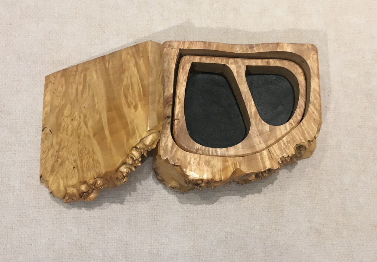 Box with Tray by Steve Kale with live edge and top open