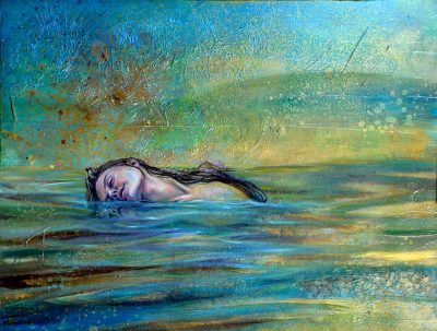 Sea of Tranquility by Amanda Scott oil painting of woman floating in water