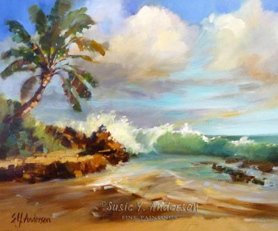 Secret Beach by Susie Anderson palms and waves crashing on beach in Hawaii