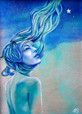 Star Gazer by Amanda Scott woman looking up at a star