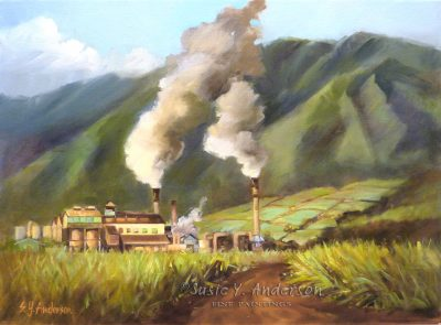 Sugar King by Susie Anderson Sugar mill with smoke billowing