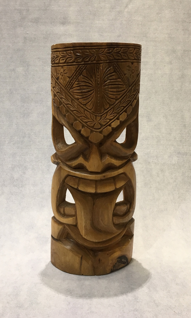 Large Tiki by Folou Tupou and Pila Lavaka with eyes up and tongue out