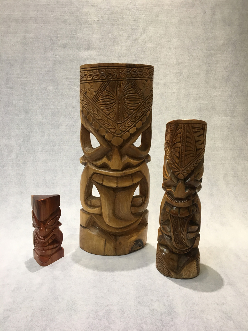 Tiki Group by Folou Tupou and Pila Lavaka three different size tikis