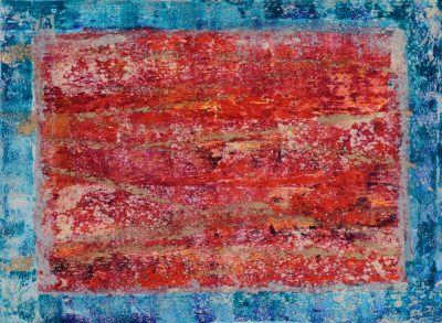 Rectangle Monotype Red with Blue Border