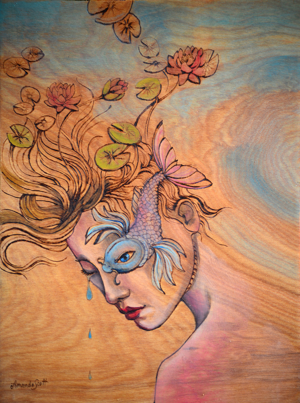 Tranquil Pool by Amanda Scott oil on wood woman with fish over her eye