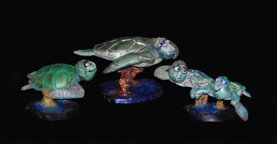 Turtles by Steven Lee Smeltzer cartoonish whimsical clay sculpture turtles