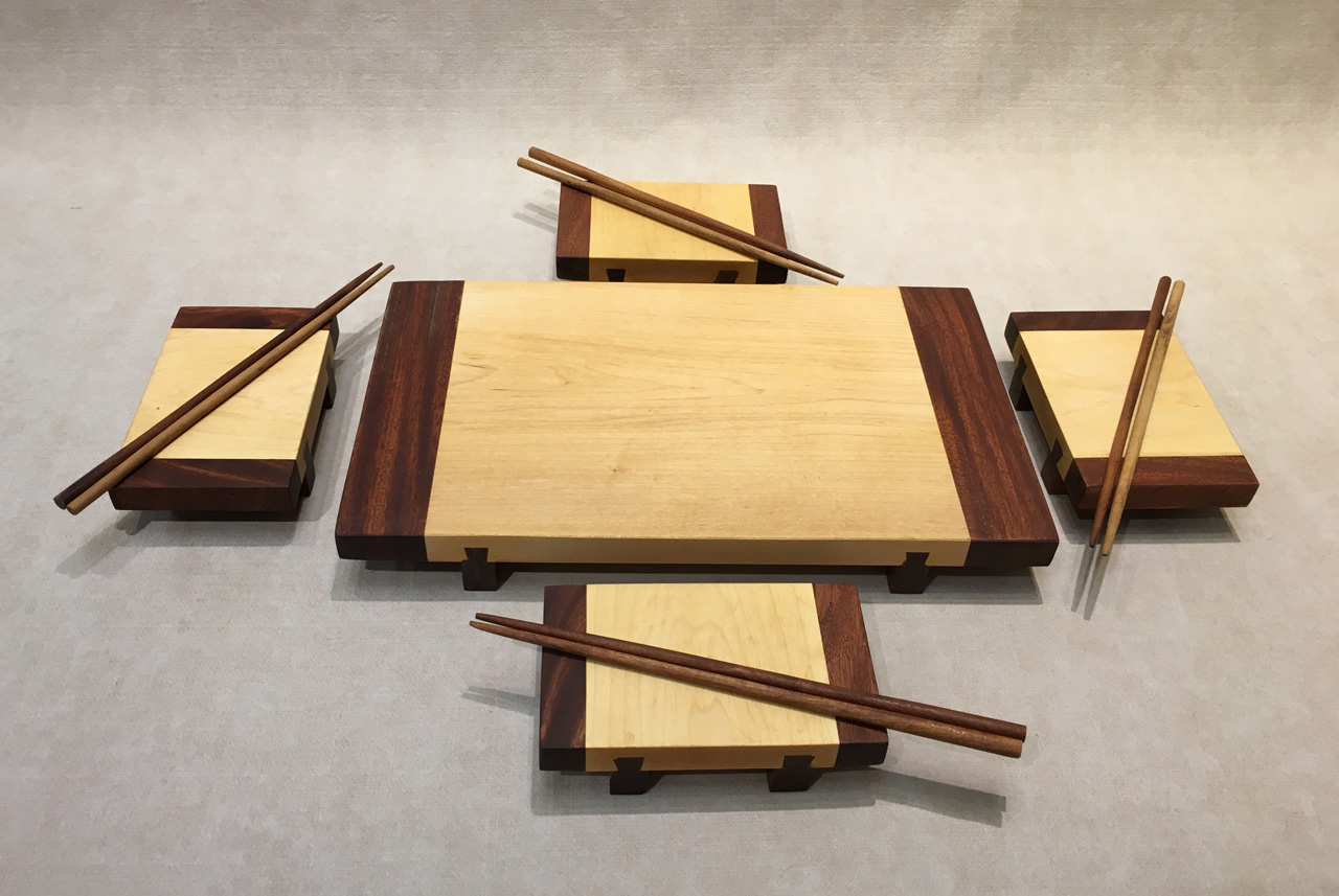 5 piece Sushi Set with chopsticks in two toned wood by Keoni Woo