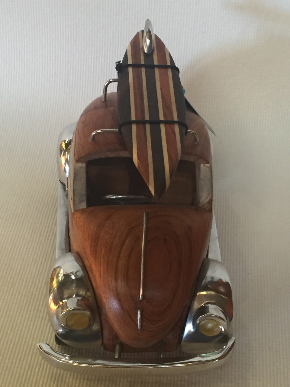 VW Bug by Doug Miller wood and metal model with surfboard