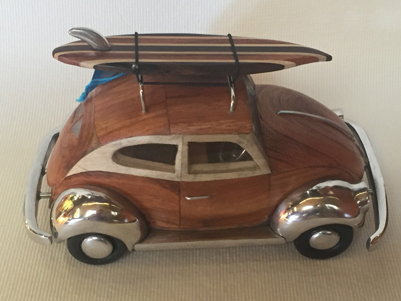 VW Bug by Doug Miller wood and metal model with surfboard side view