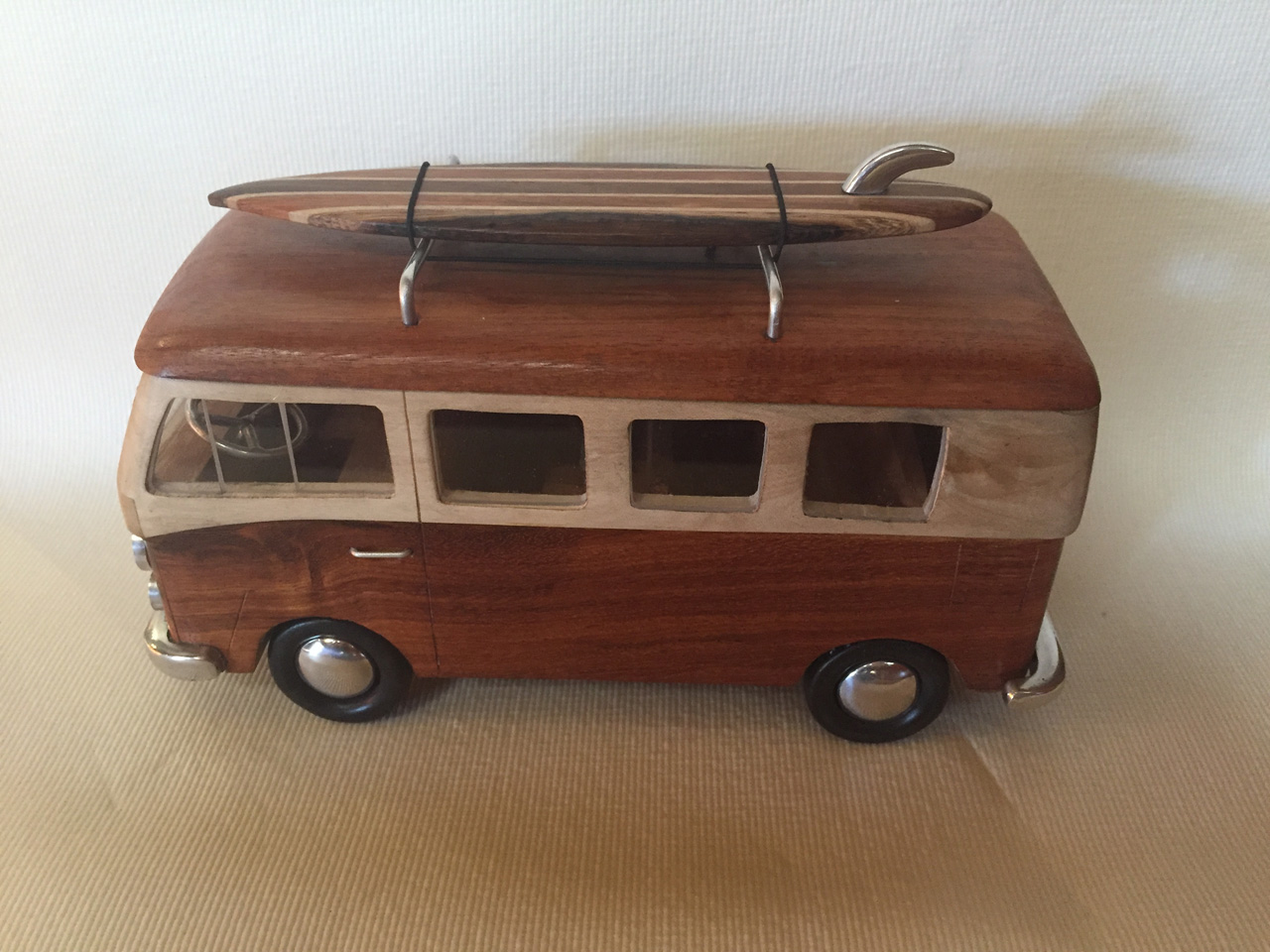 VW Van by Doug Miller wood and metal model with surfboard