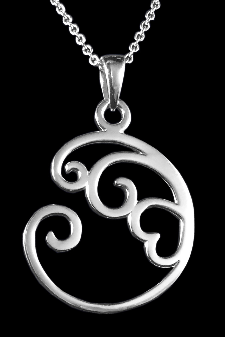 sterling silver necklace large with a heart center