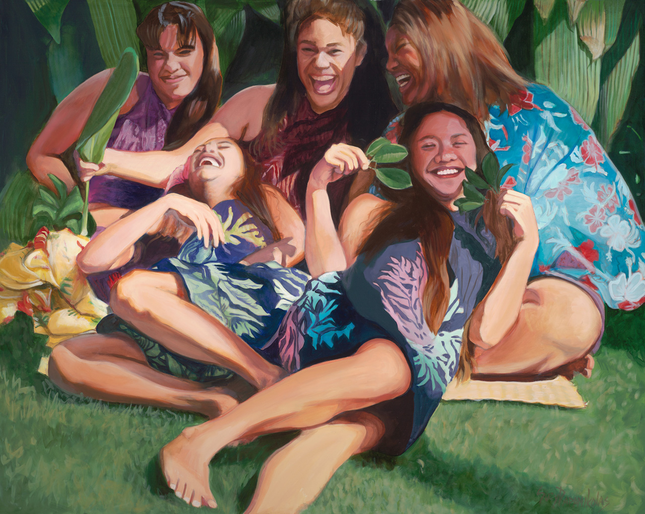 Five young girls sitting with one another and lauging