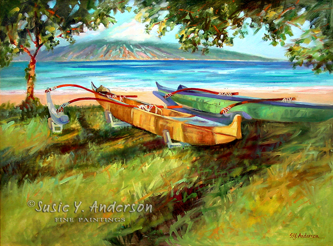 Waiting For Crossing by Susie Anderson Hawaiian canoes on beach