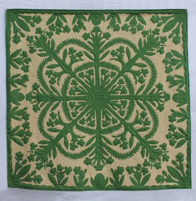White Ginger Quilt in Forest Green and Tan by Noreen Tretick