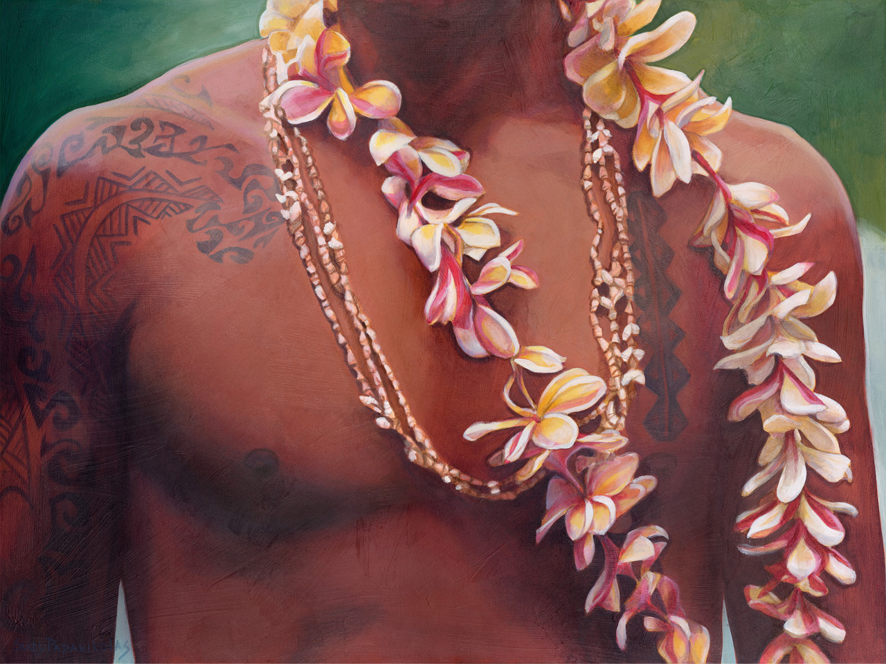 The upper body of a Hawaiian male with tribal tattoos, wearing plumeria and shell leis