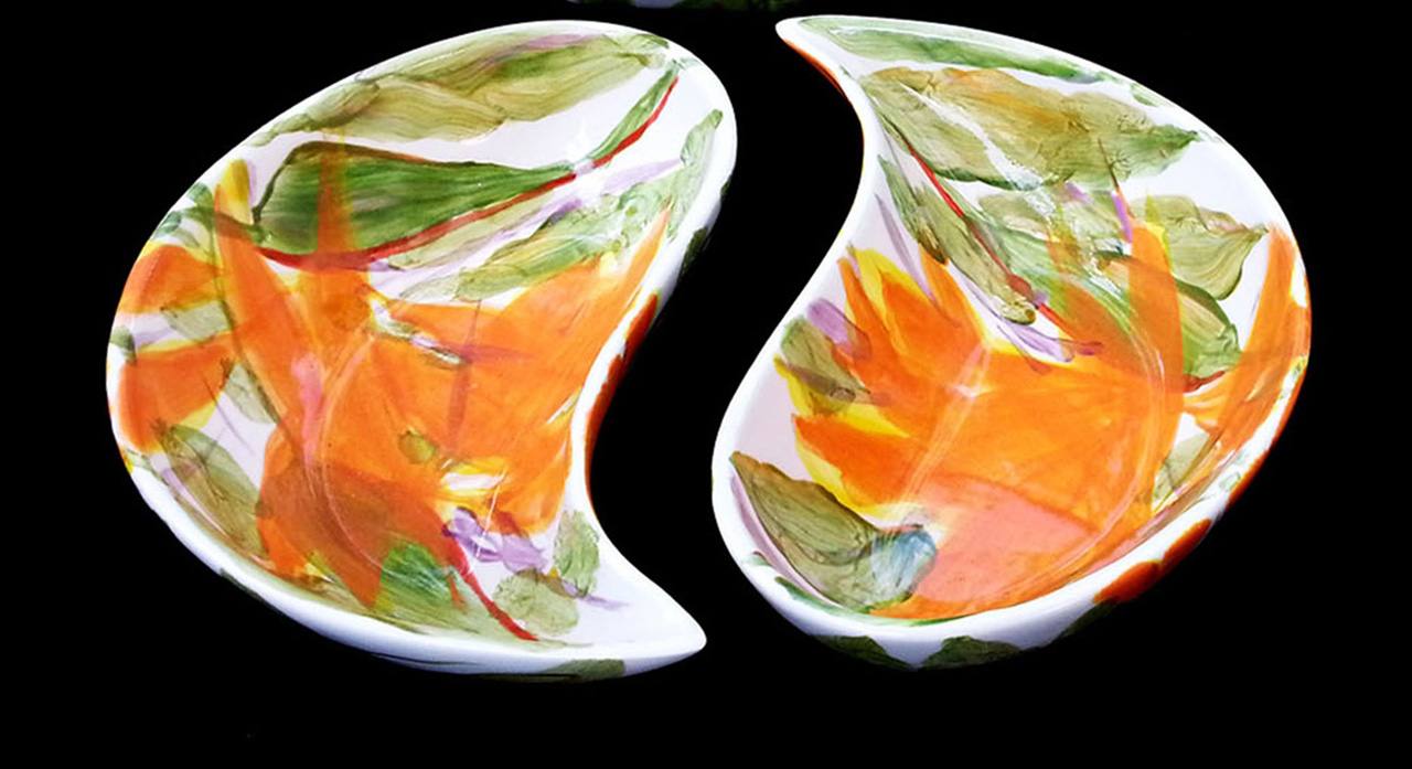 Bird of Paradise Yin Yang Bowls by Michael Lee