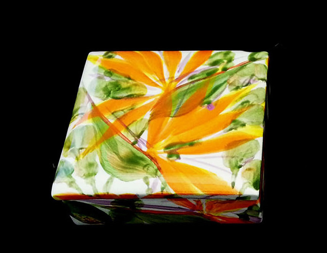 ceramic square lidded box painted bird of paradise flowers