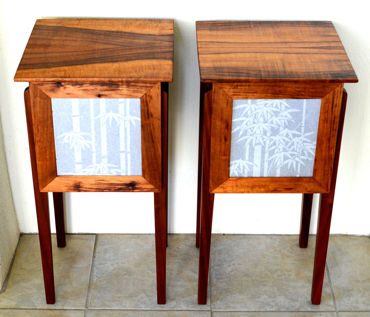 Bamboo Shoji Bedside Tables by Gary Forest